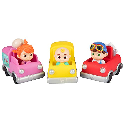 CoComelon Vehicle Toy 3 Pack - JJ, Tomtom & YoYo with School Bus, Fire Truck & Ice Cream Truck - Ages 2+