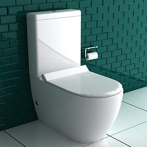 bad1a Stand WC + Spülkasten + GEBERIT Spülgarnitur + Abnehmbarer WC-Sitz mit Soft-Close Funktion | Abfluss waagerecht und senkrecht möglich | Komplettset