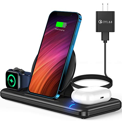 Wireless Charger, 3 in 1 Wireless Charger Station for Apple Watch SE 6 5 4 3 2, AirPods Pro/2, Wireless Charging Stand Dock with QC3.0 Adapter for iPhone 12 11 Pro Max Xs X Xr 8, Samsung (Black)