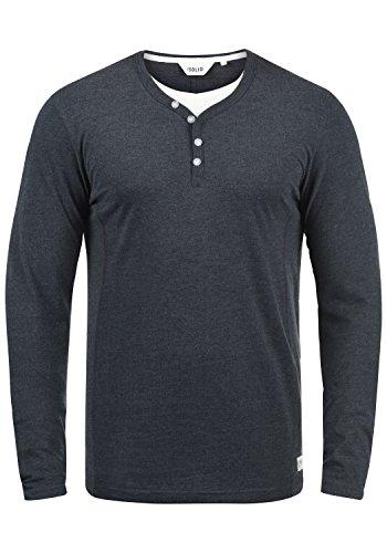 !Solid Doriano Herren Longsleeve Langarmshirt Shirt Mit Grandad-Ausschnitt, Größe:L, Farbe:Insignia Blue Melange (8991)