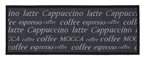 andiamo Coffee Design-Kurzflor Läufer aus 100% Polyamid waschbar Küchenläufer Mocca grau 67 x 180 cm