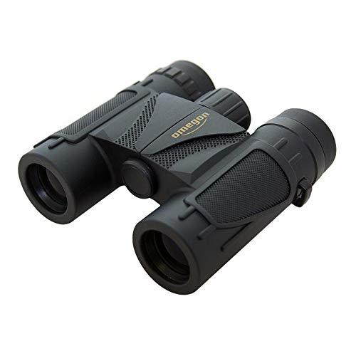 Omegon Dachkant Fernglas Blackstar 10x25, 10x Vergrößerung, 25mm Objektivlinse, BaK4-Glas, Spritzwasserschutz, für Kinder und Erwachsene