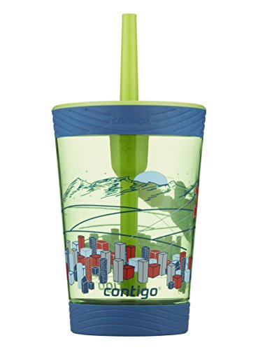 Contigo 2076762 Spill-Proof Kids Tumbler, 14 oz, Granny Smith with Flying Hero, 1 Count (Pack of 1)