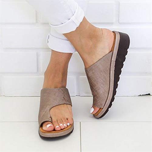 NIBESSER Sandalen Damen Sommer Sandaletten Plattform Sandale Schuhe Flachen Frauen Strand Schuhe Plateau Flip Flop Sommersandalen Bequeme Elegante Schuhe Gr.35-43 (EU 38, Khaki)