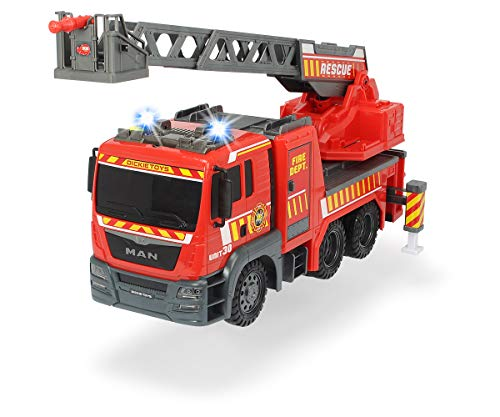 Dickie Toys 203719017 Fire Engine Feuerwehrauto Leiter, Spielzeugfeuerwehr, ausziehbare Drehleiter, Licht & Sound, inkl. Batterien, 54 cm, Mehrfarbig