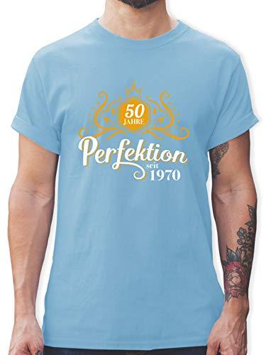 Geburtstag - 50 Jahre Perfektion 1970-50. Geburtstag - M - Hellblau - 50 Jahre Shirt Herren - L190 - Tshirt Herren und Männer T-Shirts