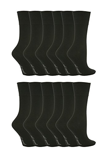 12 pack damen muster breit top weiche halt socken in 20 styles - GG67 Schwarz, 4-8 uk