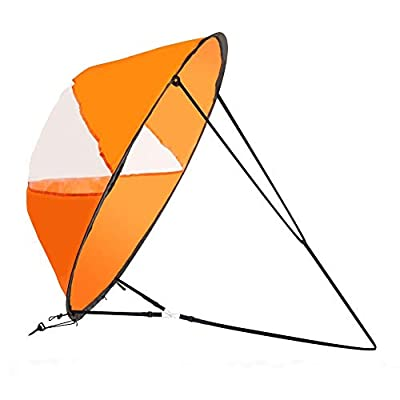 LoneRobe 42 inches Downwind Wind Sail Kit Kayak Wind Sail Kayak Paddle Board Accessories,Easy Setup & Deploys Quickly,Compact & Portable (Orange)