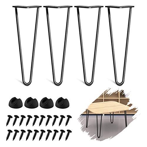 WHATWEARS 4 Stück DIY-Möbel Metall-Tischbeine Schwarz 2 Rod Moderne Möbelbeine für Schrank, Kleiderschrank,...