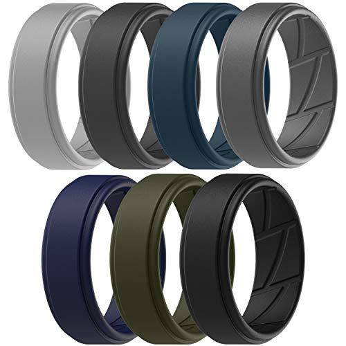 ThunderFit Silicone Wedding Ring for Men (Light Grey, Dark Grey, Navy Blue, Grey, Olive Green, Dark Blue, Black, 11.5-12 (21.3mm))