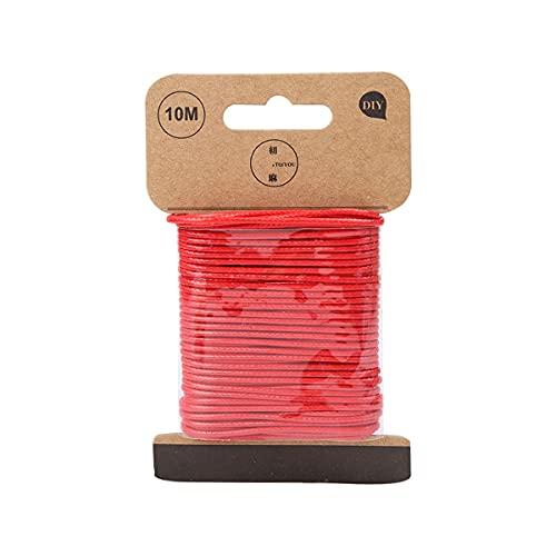 DUOYO, tejido a mano rojo, cuerda de cera DIY, cuerdas, hilo, accesorios de joyería para hacer pulseras, collares, tamaño: 1,5 mm * 10 m