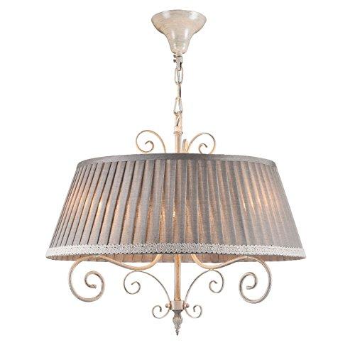 Shabby Chic Lampadario da soffitto, Grigi0, Base in metallo, Rotondo Paralume in tessuto - lino, altezza regolabile per 3 lampadine E14 40W non incl