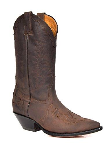 Bottes de cowboy à enfiler en cuir marron avec bout pointu - AZ350 - Marron - marron, 42 1/3 EU