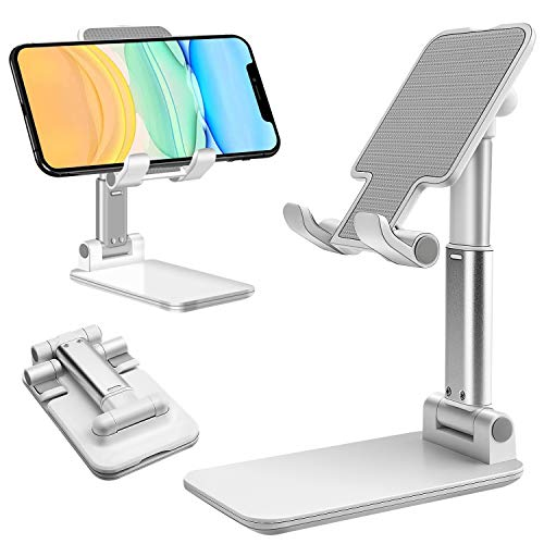 Suruid Cell Phone Stand, Angle Height Adjustable Cell Phone Stand for Desk, Fully Foldable Cell Phone Holder, Tablet Stand, Friendly Compatible with All Mobile Phone and Tablet Under 9.7 inches-White