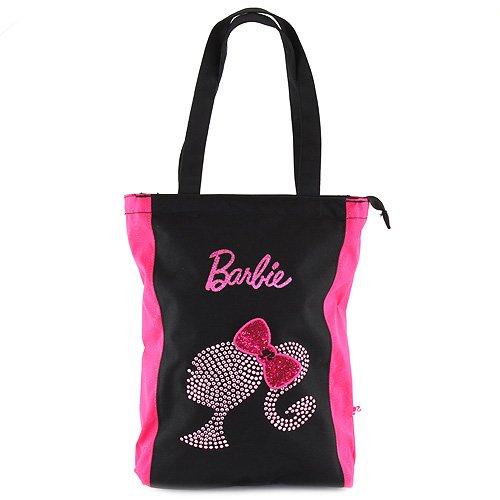Barbie Bolsa de Tela y de Playa, Color Negro y Rosa