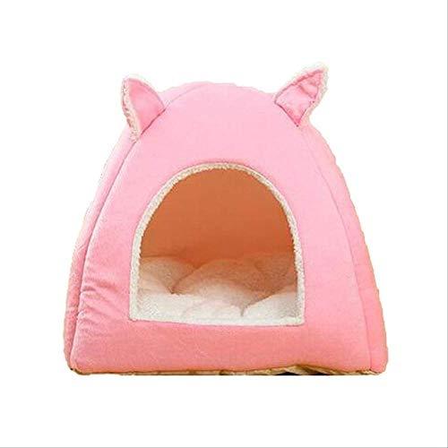 KIFFAY Katzennest Welpenbett Katzenform Haustier Nest Winter Warmes Hundehaus Baumwolle Samt Hundekäfig Bett Atmungsaktiv Für Welpen Katze Haustierzubehör Pink/M.