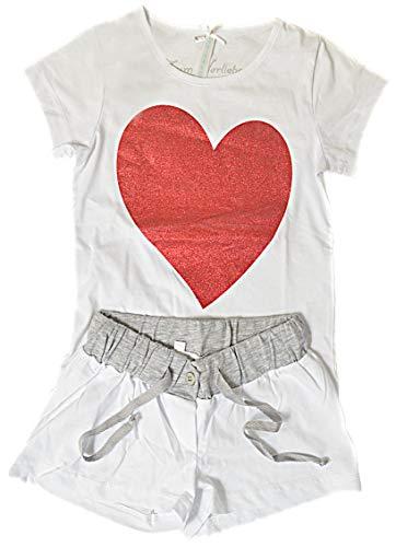 Louis & Louisa Herz Kinder-Pyjama kurz weiß (104/110)