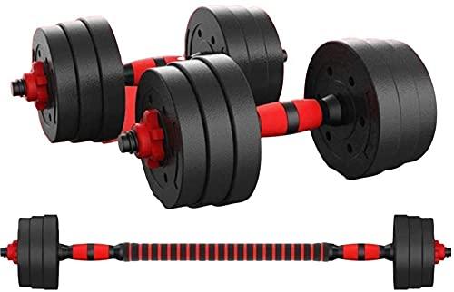 LLP Kit Mancuernas Regulables 20KG / 30KG Fitness Musculación Juego Pesas 2 en 1 Barra Conector Ajustable Set Pesas Gimnasio en Casa Pack Dumbbell Hombre Mujer Principiantes Entrenamiento Fuerza