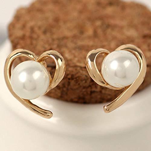 Lady Temperament Pearl Love aretes Pendientes Coreanos - Oro - 17x14 mm