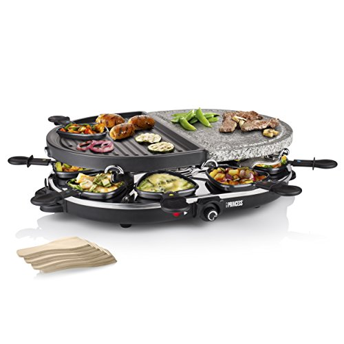 Princess 162710 Raclette 8 Oval Stone & Grill Party Grill, 1200 W, Plastica, Nero
