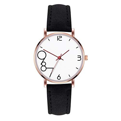 Uhr Armbanduhren Männer Damenuhren Hansee Modifizierbares Temperament Frauen Lederarmband Armbanduhr Quarz Analog Runde Uhren Wrist Watches(Schwarz)