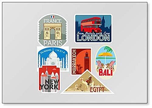Varias tarjetas de felicitación turísticas. Imán para nevera con ilustración abstracta de ciudades del mundo