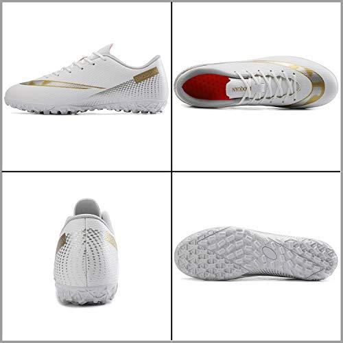 Topwolve Zapatillas de Fútbol para Hombre Profesionales Botas de Fútbol Aire Libre Atletismo Zapatos de Entrenamiento Zapatos de Fútbol,Blanco,36 EU