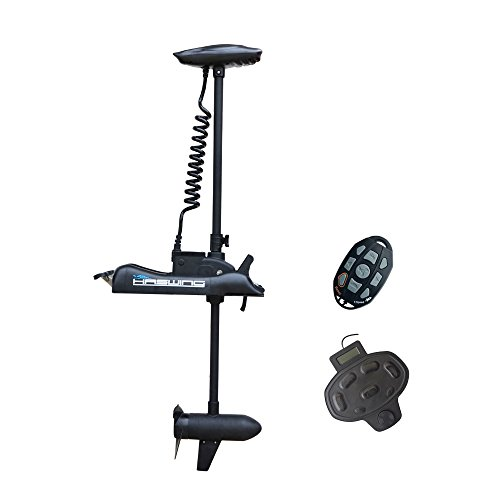 Black Haswing 12V 55LBS 54' Shaft Bow Mount Electric Trolling Motor Portable, Variable Speed with Foot Control for Bass Fishing Boats Freshwater and Saltwater Use, Energy Saving, Quiet Operation