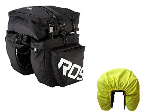 Bike Pannier Bag with Rain Cover,Luckybuy Bicycle Rear Seat Trunk Bag Waterproof, 3 in 1 Rear Rack Bicycle Saddle Bag for Cycling (Black)
