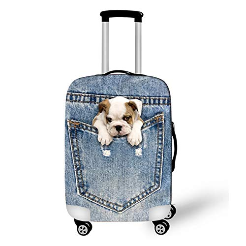 OSVINO Carina Modello Animale 3D Denim Cani Gatti Stampare Lavabile Durevole Elastico Antipolvere Copri Bagagli 18-28 pollici Viaggio Protezione per Valigie, Cane2, S: per Valigia 18'-20'