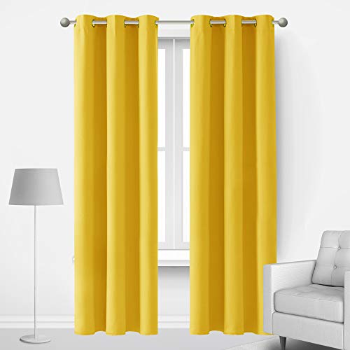 Deconovo Sound Blocking Blackout Curtains for Living Room Energy Efficient Room Darkening Curtains Drapes for Sliding Glass Door Set of 2 Each 42x84 Inch Mellow Yellow