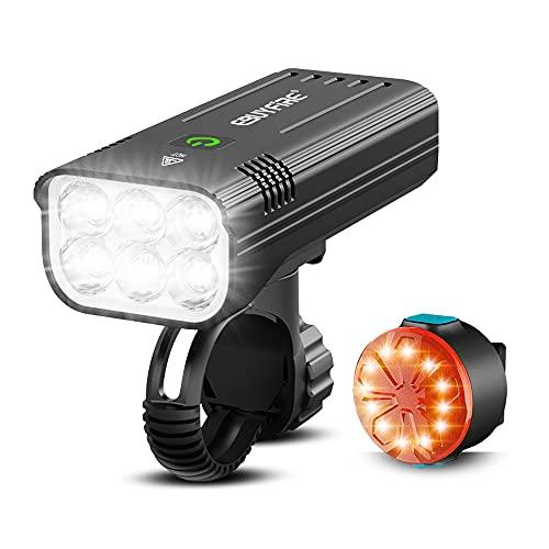 EBUYFIRE Ensemble Lumière Vélo Rechargeable USB, 6* LED Phare de Vélo 3000 Lumens Vrès Lumineux, 5 Modes d'éclairage Avant et Arrière, 5200mAh IPX5 étanche pour Tous Les vélos