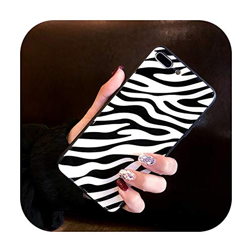 Phonecase - Carcasa rígida de cristal templado para iPhone 7, 8, 6, S, 6S, Plus, diseño de cebra