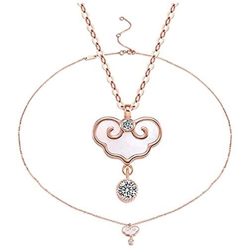 GQGQ Oro De 18 Quilates Mujer Concha Rosa Colgante Collar Joyería, Regalos De Joyería Fina (Color : Bracelet+Necklace)