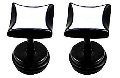 Par de (2piezas) Fake Plug en acero quirúrgico 316L–Carre–Le estación est 1.2mm peut Etre utilizar como Piercing de oído–lorsqu' il est porté dirait que vous Portez una ficha de 6G
