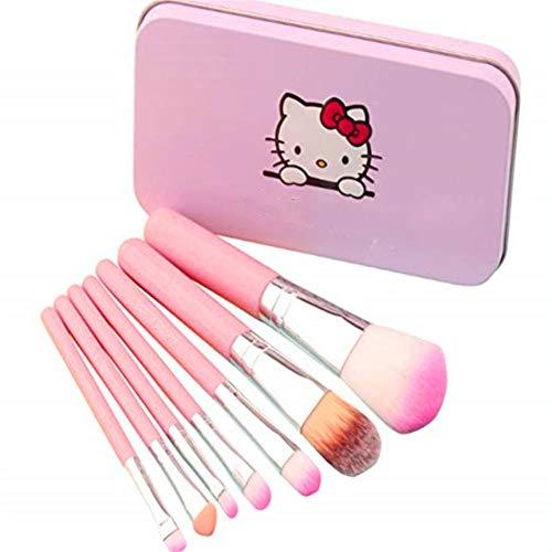 Brochas de maquillaje para niños, 7 piezas, set de brochas de maquillaje, base de cejas, delineador de ojos, brochas cosméticas, corrector para niños, niñas, color rosa
