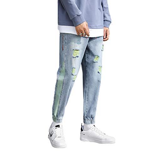 Pantalones Vaqueros Rasgados de Estilo Nuevo, Pantalones Harlan Delgados de Primavera y Verano con Pantalones de Tobillo, Modelos de explosin de Red, Pantalones de Nueve Puntos para Hombres