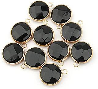10pcs, Natural Stone Round Shape Pendant Rose Quartzz/Tiger Eyes Pendant DIY For Necklace Accessories Or Jewelry Making Na...