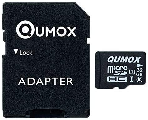 QUMOX 32GB Micro SD Memory Card Class 10 UHS-I 32 GB 32Go Go Carte mémoire HighSpeed Write Speed 15MB/S Read Speed Upto 70MB/S