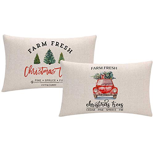 ULOVE LOVE YOURSELF Christmas Throw Pillow Covers 12x20 Inches Farm Fresh Christmas Tree and Red Vintage Truck Farmhouse Decorations Winter Holiday Decorative Rectangular/Waist Pillowcases Set of 2