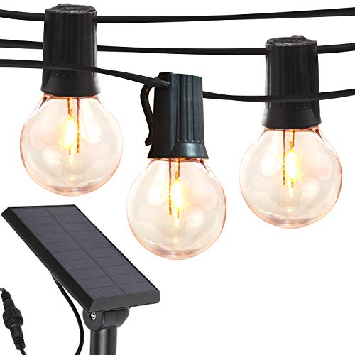 Brightech Ambience Pro - Globe Solar LED Outdoor String Lights – Waterproof, 1W Retro Edison Filament Bulbs - 27 Ft Patio Lights Create Bistro Ambience in Your Yard, Pergola - Warm White
