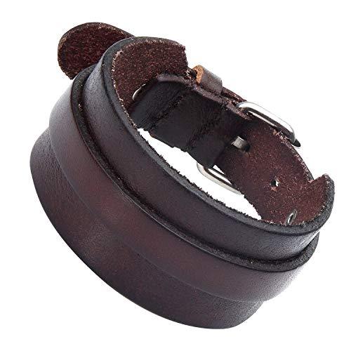 Splendido regolabile marrone scuro polsino bracciale in pelle per gli uomini (metallo fibbia)