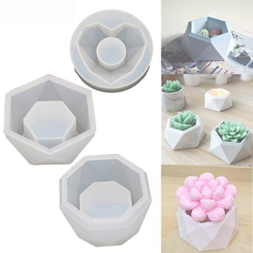 3 Pack Plants Pot Mould,DIY Silicone Creative Reusable Flower Pot Mold,Succulent Plant Flower DIY Small Molds with 3 Shapes Choice and Easy to Release & Clean,3Pcs Set
