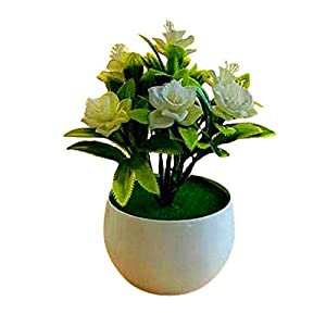 Artificial Flowers,Fake Plants Faux Plastic Fake Plants Wedding,Artificial Plant Pot Daffodil Pattern Simulated Flower Plastic Garden Yard Fake Potted Plant for Home – Milk White