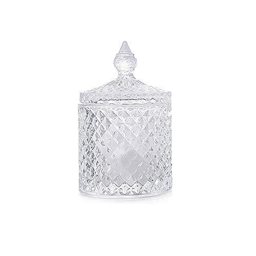 SUQ Spice Vasetti di Vetro, Scatola di Caramelle in Cristallo con Coperchio, 300ml Mini Storage Cucina Can, Lattine di Cristallo Del Diamante di Colore Candy Box, 14*8.5cm (Trasparente)
