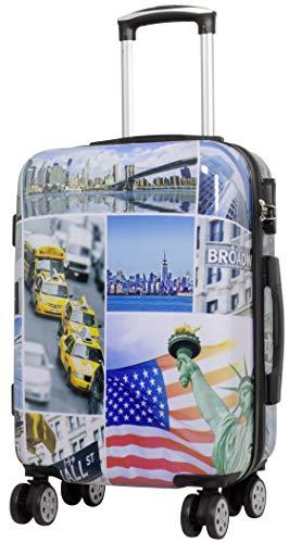 Trendyshop365 Hartschalen Handgepäck Koffer mit Motiv Bedruckt - New York USA - 58 Zentimeter 46 Liter 4 Rollen Städtemotiv