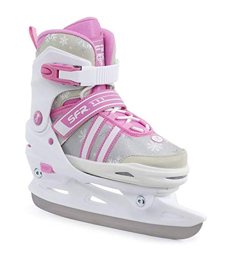 SFR Nova Adjustable Childrens Ice Skates - White/Pink (UK 1-4 / EU 33-37)