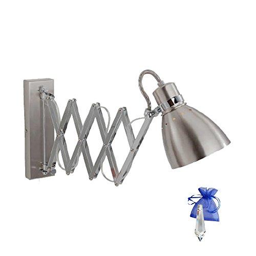 Scherenlampe Silber Chrom Scharnier-Wandleuchte Industrial 6290ST Fassung E27 Ziehharmonika Wandlampe ausziehbar für LED und Glühlampe mit Dimmer + Giveaway