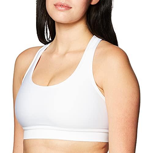 Hanes Sport Women's Compression Racerback Sports Bra,White,Medium