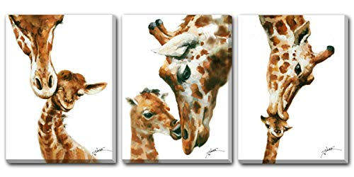 Animal Wall Art Giraffe Painting Canvas Prints Modern Artwork Giraffe Pictures for Wall Stretched and Framed Ready to Hang 12x16inchx3panels